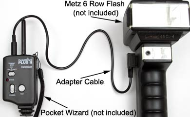 Metz 6 Row Connector to Pocket Wizard, CyberSync or Elinchrom Skyport